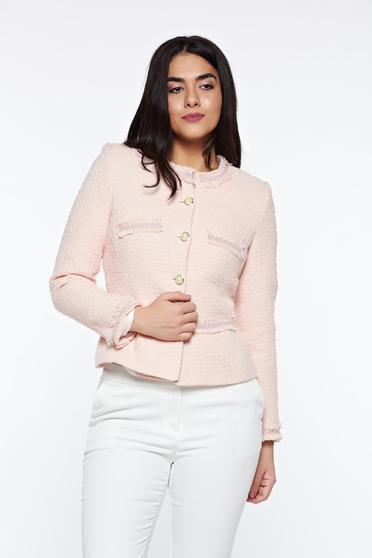 Rózsaszínű LaDonna elegáns szűkített blézer nem elasztikus pamut belső béléssel