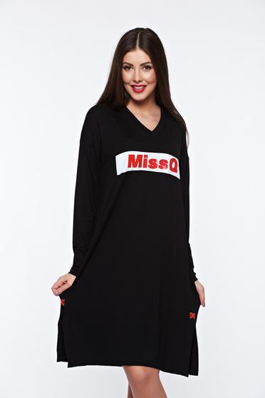 Fekete MissQ casual bő szabású ruha enyhén rugalmas anyag v-dekoltázzsal 78e2ea08c8