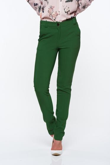 Zöld PrettyGirl elegáns kónikus nadrág zsebes enyhén rugalmas anyag