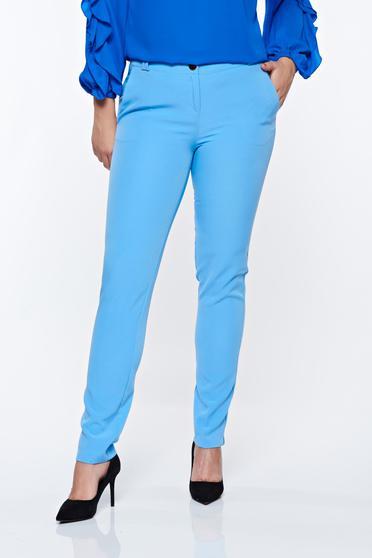 Világoskék PrettyGirl elegáns kónikus nadrág zsebes enyhén rugalmas anyag