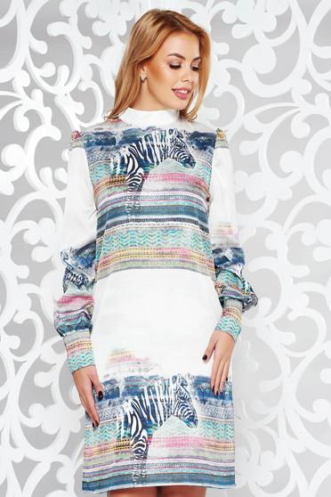 Fehér PrettyGirl hétköznapi bő szabású ruha lenge anyagból belső béléssel