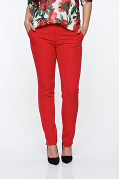 Piros PrettyGirl elegáns kónikus nadrág zsebes enyhén rugalmas anyag