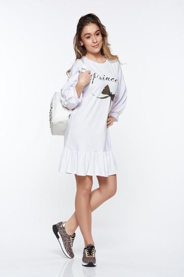 Fehér casual bő szabású ruha rugalmas anyag fodrok a ruha alján