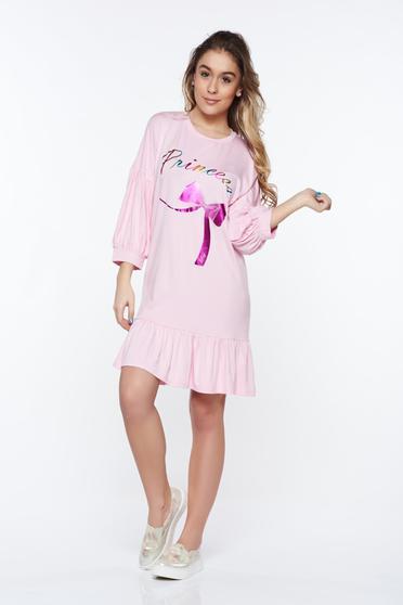 Pink casual bő szabás ruha rugalmas anyag fodrok a ruha alján
