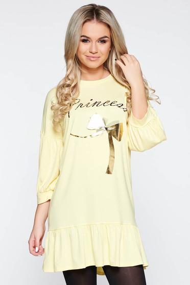 Sárga casual bő szabás ruha rugalmas anyag fodrok a ruha alján