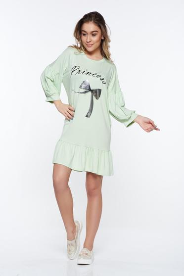 Világos zöld casual bő szabás ruha rugalmas anyag fodrok a ruha alján