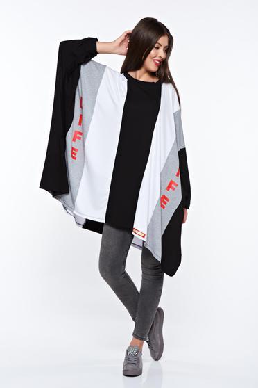 Fekete MissQ női blúz casual pamutból készült bő szabású nyomtatott mintával