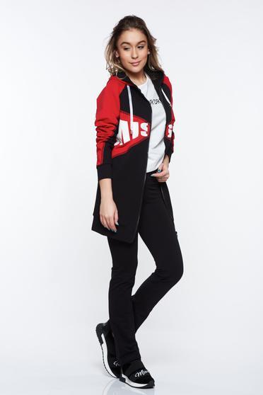 Piros MissQ casual szett magas derekú a kapucni nem távolítható el pamutból készült