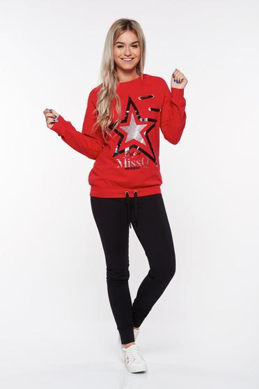 Piros MissQ casual pamutból készült szett derékban zsinórral köthető meg csillogó díszítések