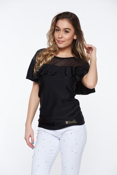 Fekete MissQ casual szűk szabás női blúz rugalmas anyag fodros