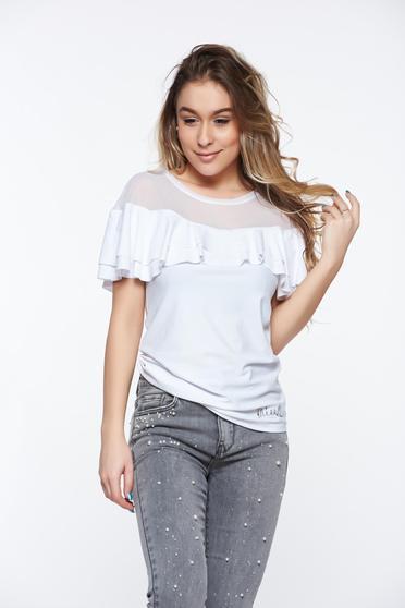 Fehér MissQ casual szűk szabású női blúz rugalmas anyag fodros