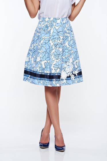 87ff273c32 Kék LaDonna elegáns pamutból készült harang szoknya kézzel varrott  díszítésekkel belső béléssel
