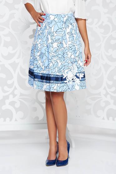 Kék LaDonna elegáns pamutból készült harang szoknya kézzel varrott díszítésekkel belső béléssel