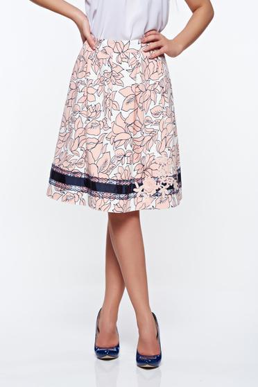Rózsaszínű LaDonna elegáns pamutból készült harang szoknya kézzel varrott díszítésekk belső béléssel