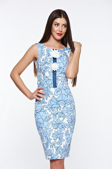 Kék LaDonna elegáns pamutból készült ceruza ruha belső béléssel kézzel varrott díszítésekkel