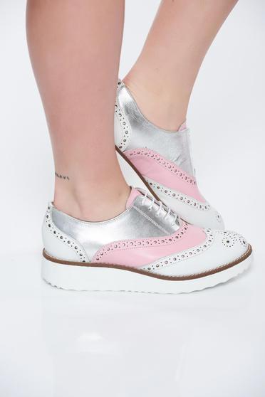 Rózsaszínű casual lapos talpú bőr cipő