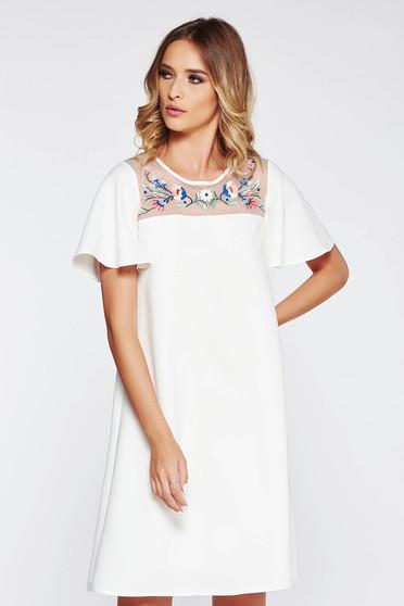 Fehér StarShinerS bő szabású hímzett ruha belső béléssel rugalmatlan anyag