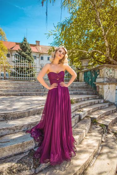 Lila Ana Radu tüll ruha belső béléssel szivacsos mellrész váll nélküli