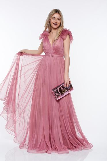 Rózsaszínű Ana Radu tüll ruha belső béléssel mély dekoltázs szivacsos mellrész
