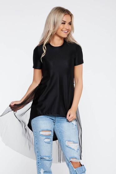 Fekete StarShinerS casual pamutból készült póló asszimmetrikus szabással tűl kiegészítővel