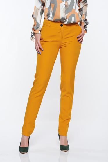 Mustar PrettyGirl elegáns kónikus nadrág zsebes enyhén rugalmas anyag