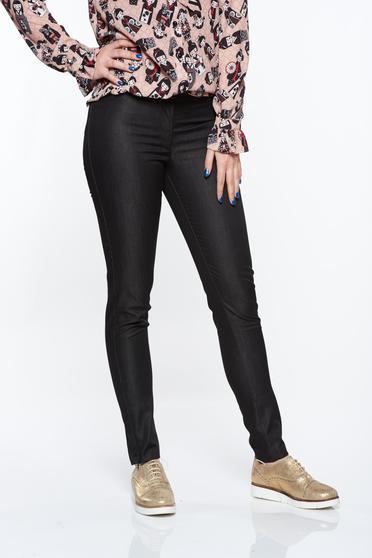 Fekete PrettyGirl irodai kónikus normál derekú nadrág nem elasztikus pamut