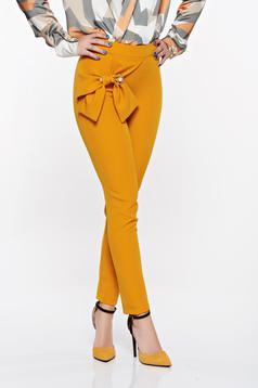 Mustar PrettyGirl elegáns magas derekú kónikus nadrág enyhén rugalmas anyag