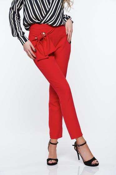 Piros PrettyGirl elegáns magas derekú kónikus nadrág enyhén rugalmas anyag