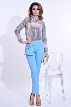 Világoskék PrettyGirl elegáns magas derekú kónikus nadrág enyhén rugalmas anyag