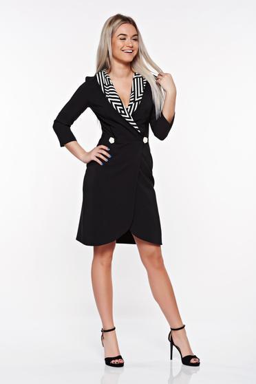Fekete StarShinerS irodai zakó tipusú ruha enyhén rugalmas anyag mély dekoltázs