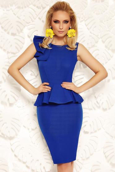 Kék Fofy elegáns ceruza ruha derekán fodros