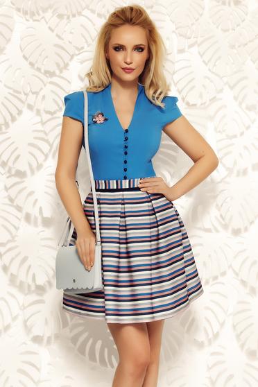 Kék Fofy irodai pamutból készült szűk szabású női ing v-dekoltázzsal