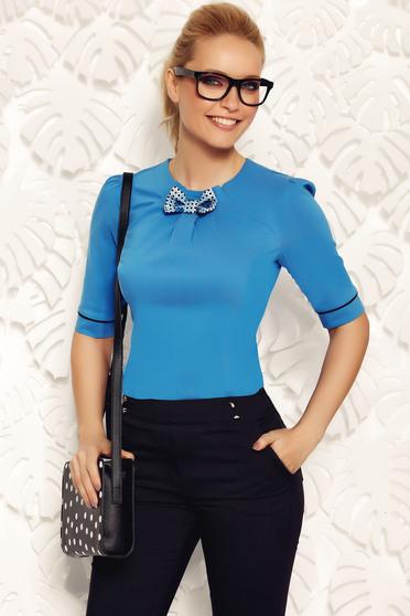 Kék Fofy szűk szabású irodai női ing rugalmas pamut masni díszítéssel