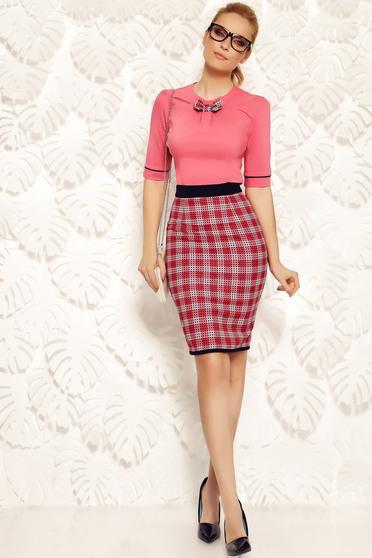 Rózsaszínű Fofy szűk szabás irodai női ing rugalmas pamut masni díszítéssel