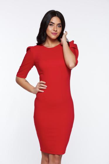 Piros StarShinerS szűk szabás ruha rugalmas és finom anyag