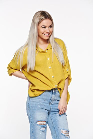 Mustar SunShine casual bő szabás vászon női ing hegyes gallér