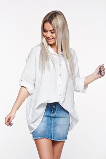 Fehér SunShine casual bő szabású vászon női ing hegyes gallér