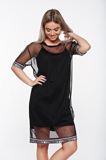 Fekete SunShine bő szabású casual ruha áttetsző anyag belső béléssel