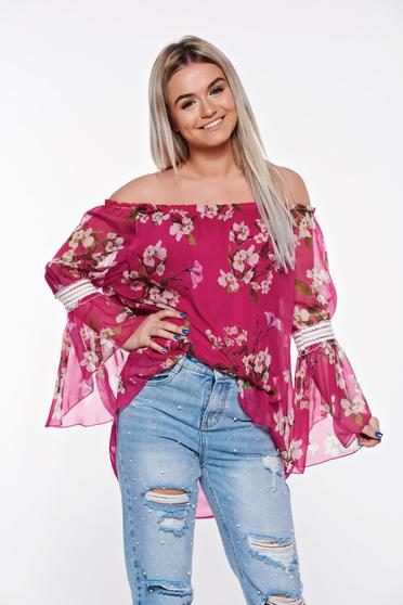 Pink SunShine casual női blúz lenge, áttetsző anyag belső béléssel
