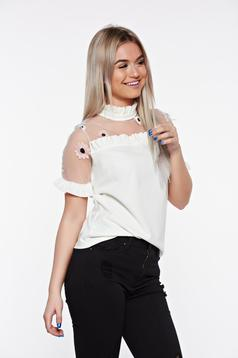 Fehér SunShine bő szabású elegáns hímzett női blúz fodrozott ujjakkal