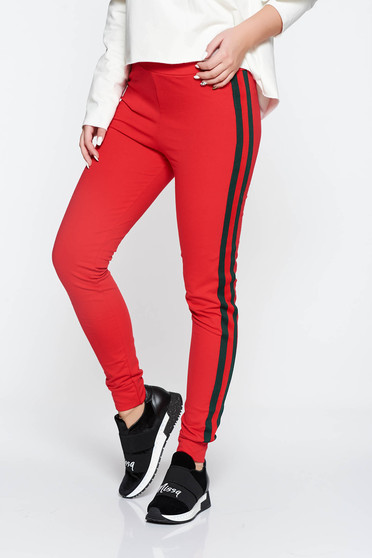 Piros SunShine casual jégernadrág pamutból készült derékban rugalmas