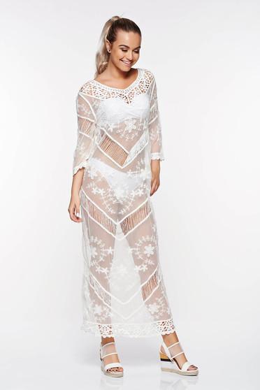 Fehér SunShine bő szabású strand ruha pamutból készült hímzett betétekkel