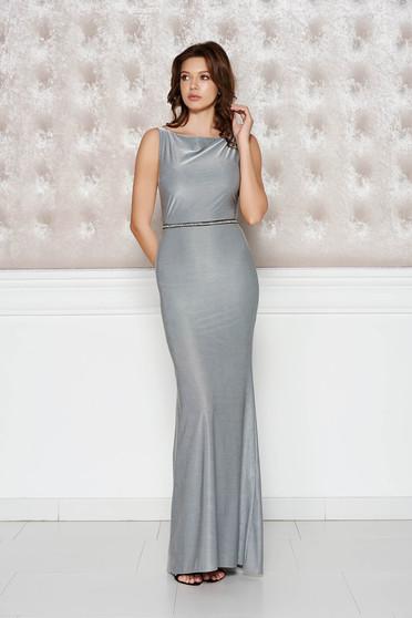 Ezüst StarShinerS alkalmi ruha fényes rugalmas anyag szirén tipusú