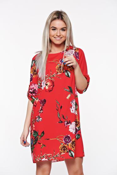 Piros SunShine casual bő szabású ruha lenge anyagból virágmintás díszítéssel