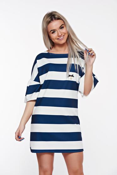 Kék SunShine casual bő szabású ruha fodrozott ujjakkal