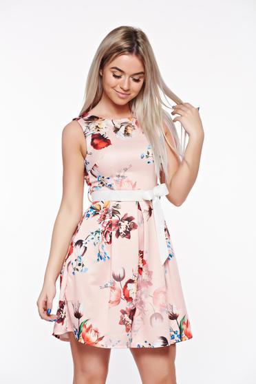 Rózsaszínű SunShine elegáns harang ruha rugalmas anyag övvel ellátva