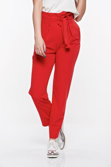 Piros casual magas derekú SunShine nadrág enyhén rugalmas anyag zsebes