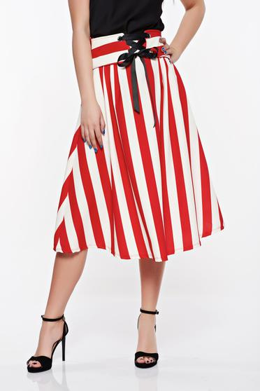 Piros SunShine casual harang szoknya rugalmas és finom anyag zsebes