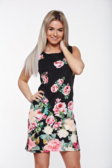 Rózsaszínű SunShine elegáns bő szabás a-vonalú ruha virágmintás díszítéssel