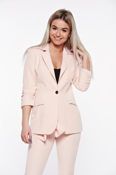 Rózsaszínű PrettyGirl szűkített irodai blézer belső béléssel zsebes rugalmatlan szövet